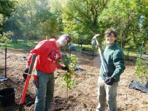 Chris and Nate Gilbert planting a tree.