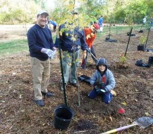 Pack 122 members are proud of their tree planting work.