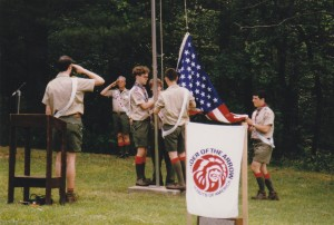 Lodge Officers from Octoraro 22 lower the flag during the 1997 Section NE-4B Conclave.