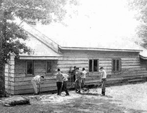 Arrowmen working on the Octoraro Memorial Lodge Building, opened in 1959.